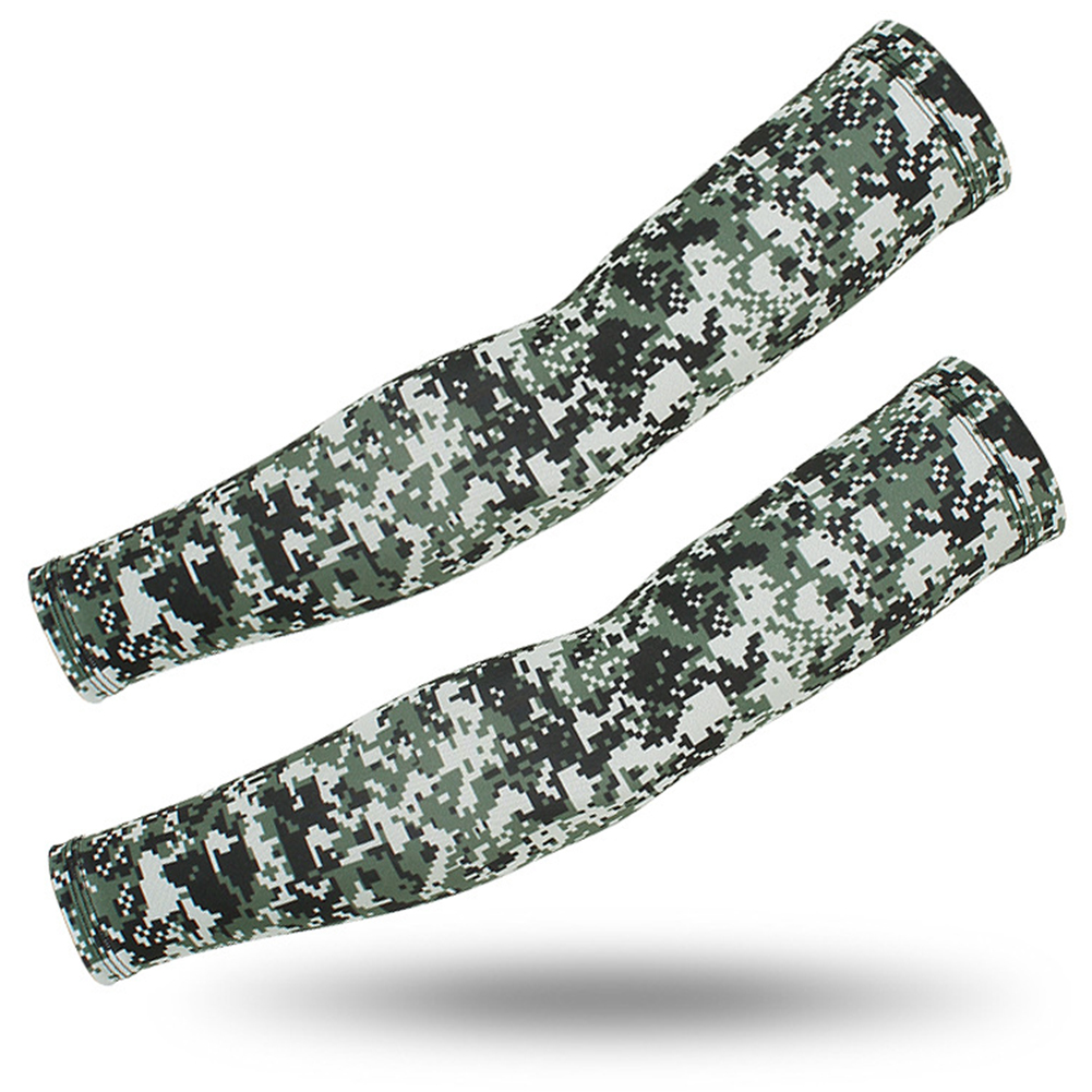 Outdoor Cycling Sunscreen Arm Sleeve Camouflage Cooling Sunshade Elastic Hand Elbow Cover Classic digital camouflage_One size
