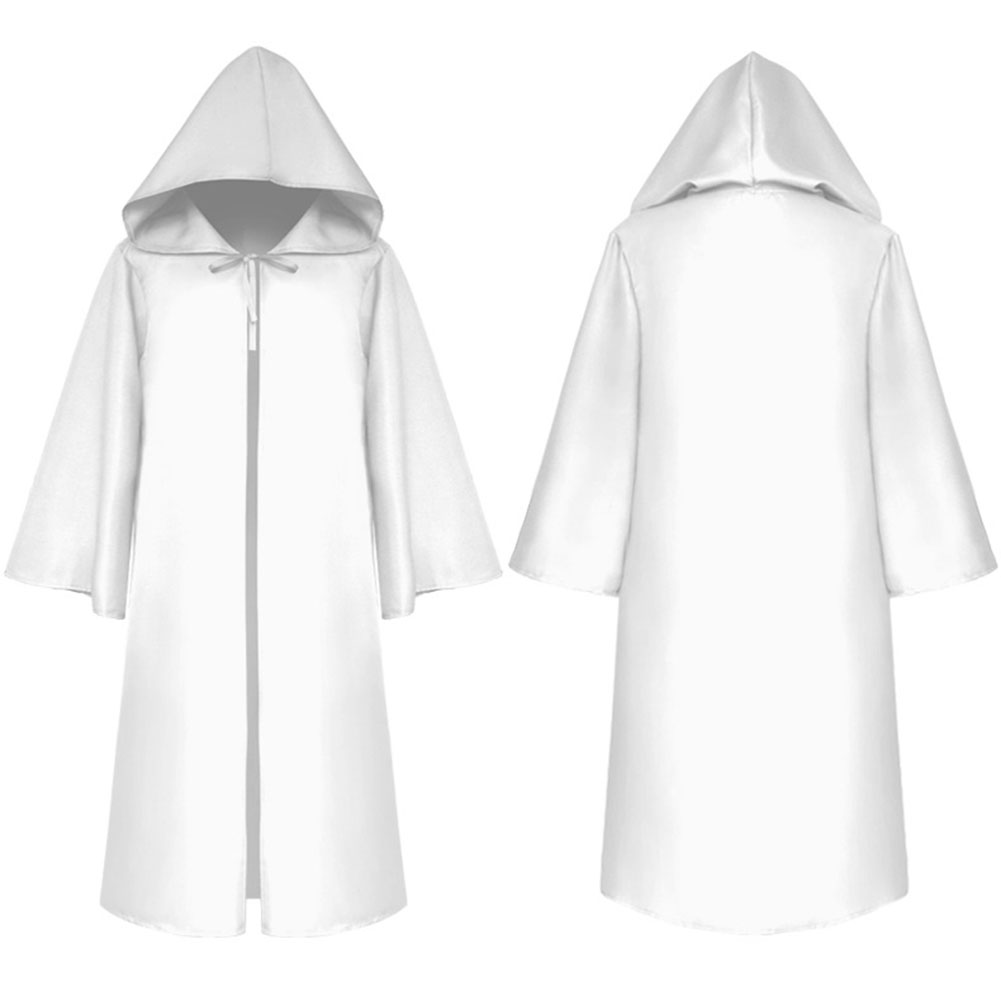 Halloween Clothing Death Cloak The Medieval Times Cloak Adult Children Goods Star Wars Cloak [White]_Adult L