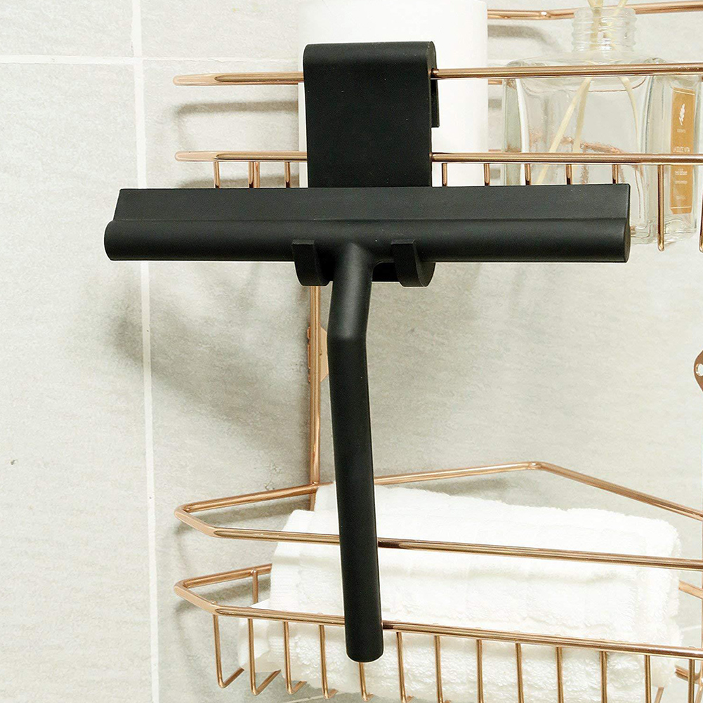 Silicone Squeegee Shower with Hook Bathroom Shower Blade Window Cleaner  Black wiper with hook