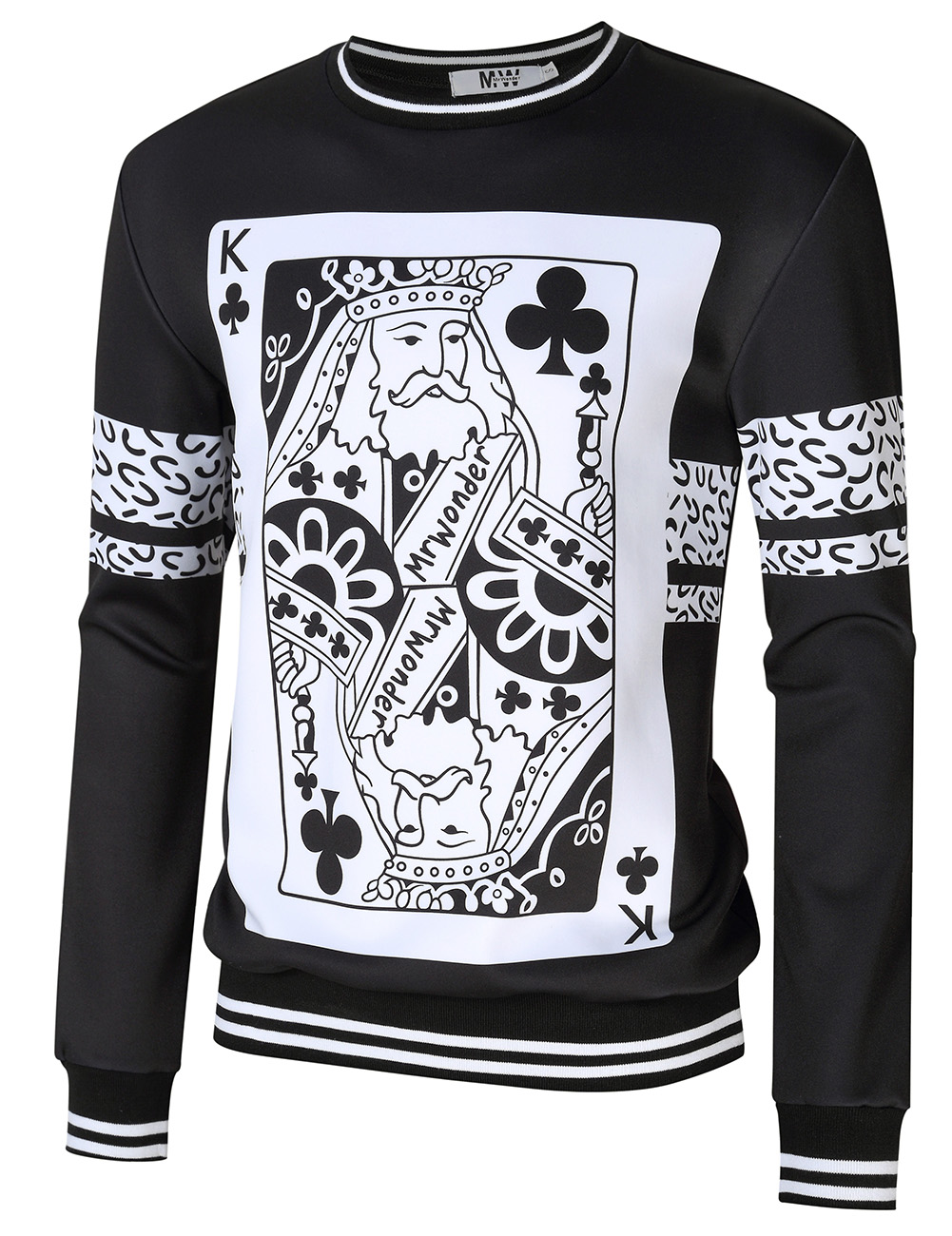 MrWonder Men's Poker Print Pullover Black L