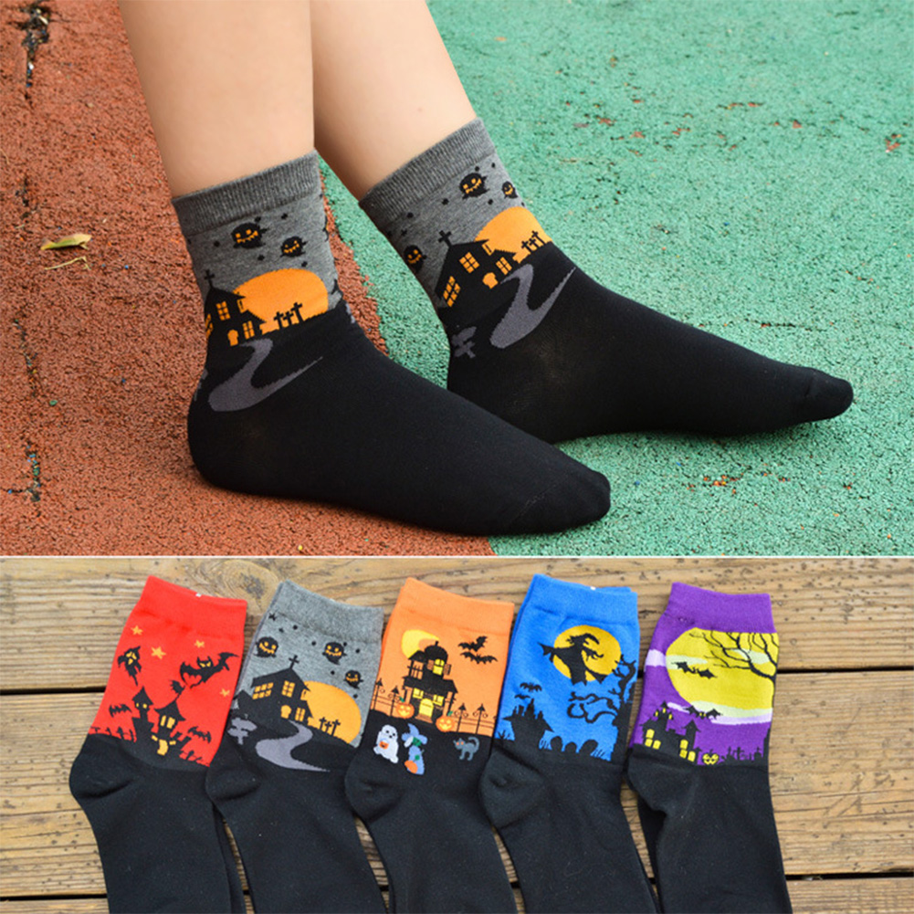 5Pairs Men Women Cartoon Pattern Mid-calf Length Socks for Halloween Men Women Lovers 5 colors