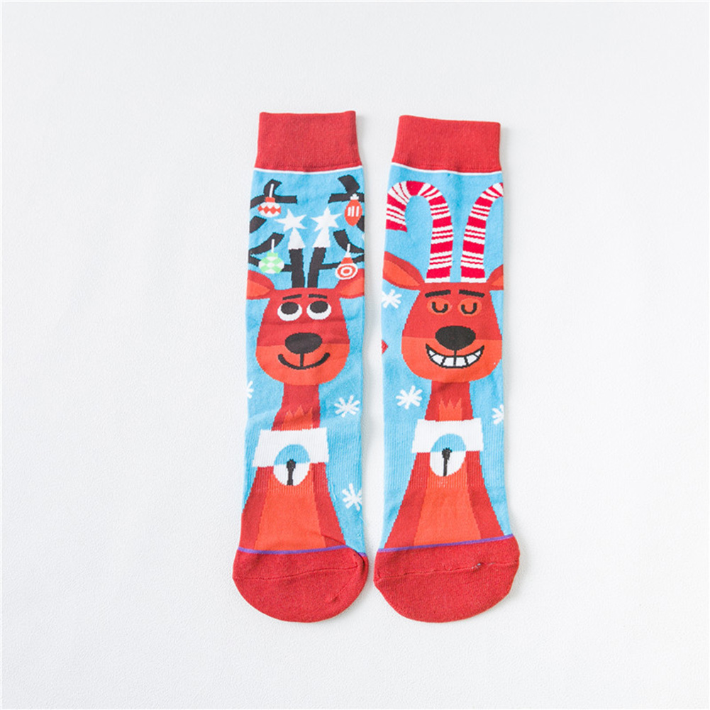 1 Pairs Autumn Winter Color Jacquard Mid-calf Length Socks for Halloween deer_One size