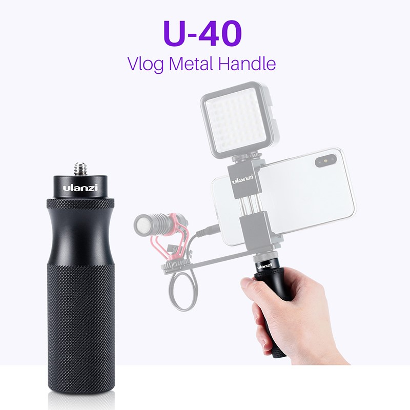 Ulanzi U-40 Vlog Handle Grip with 1/4 Cold Shoe Mount Adapter for Microphone LED Light Vlogging Kit Live Audio Video Grip black