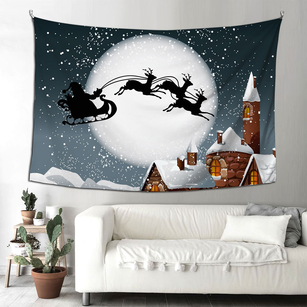 Santa Claus Halloween Fireplace Background Cloth  Tapestry 150*200cm Hanging Decoration Type B