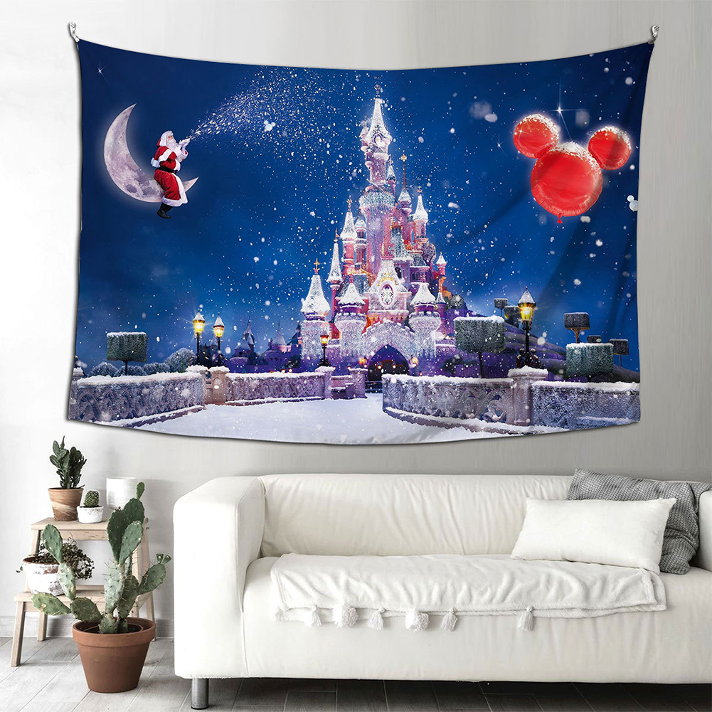 Santa Claus Halloween Fireplace Background Cloth  Tapestry 150*200cm Hanging Decoration Type C