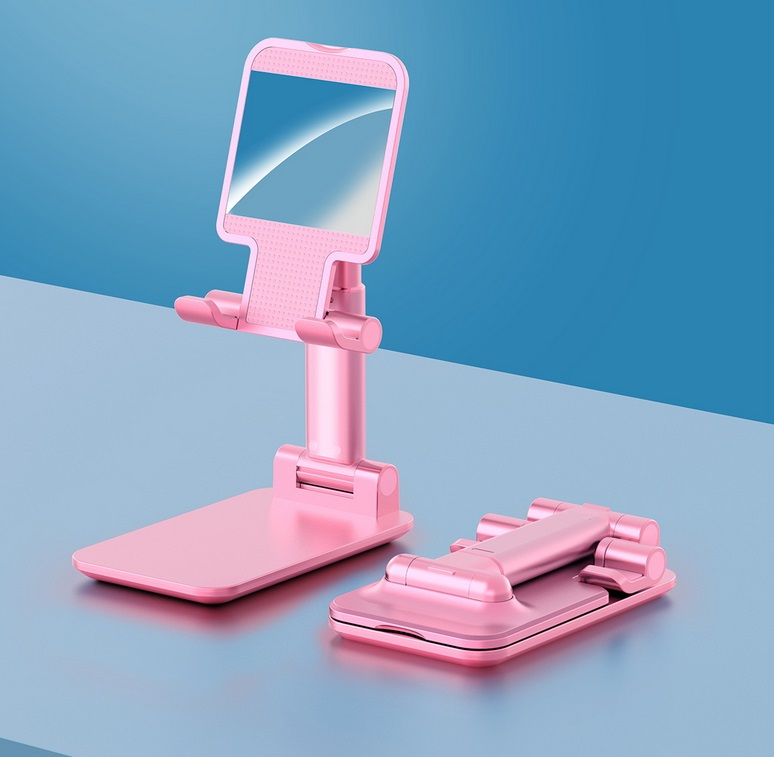 Foldable Phone Stand Metal Cellphone Holder Adjustable Desk Bracket Smartphone Mount Universal for iOS/Android Moble Phone Pink