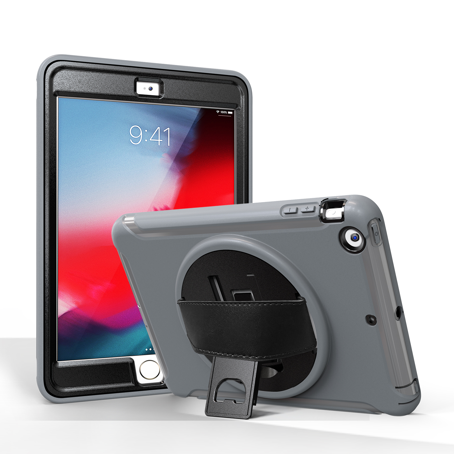 For ipad MINI 1 / 2 / 3 Wrist Handle Tri-proof Shockproof Dustproof Anti-fall Protective Cover with Bracket gray