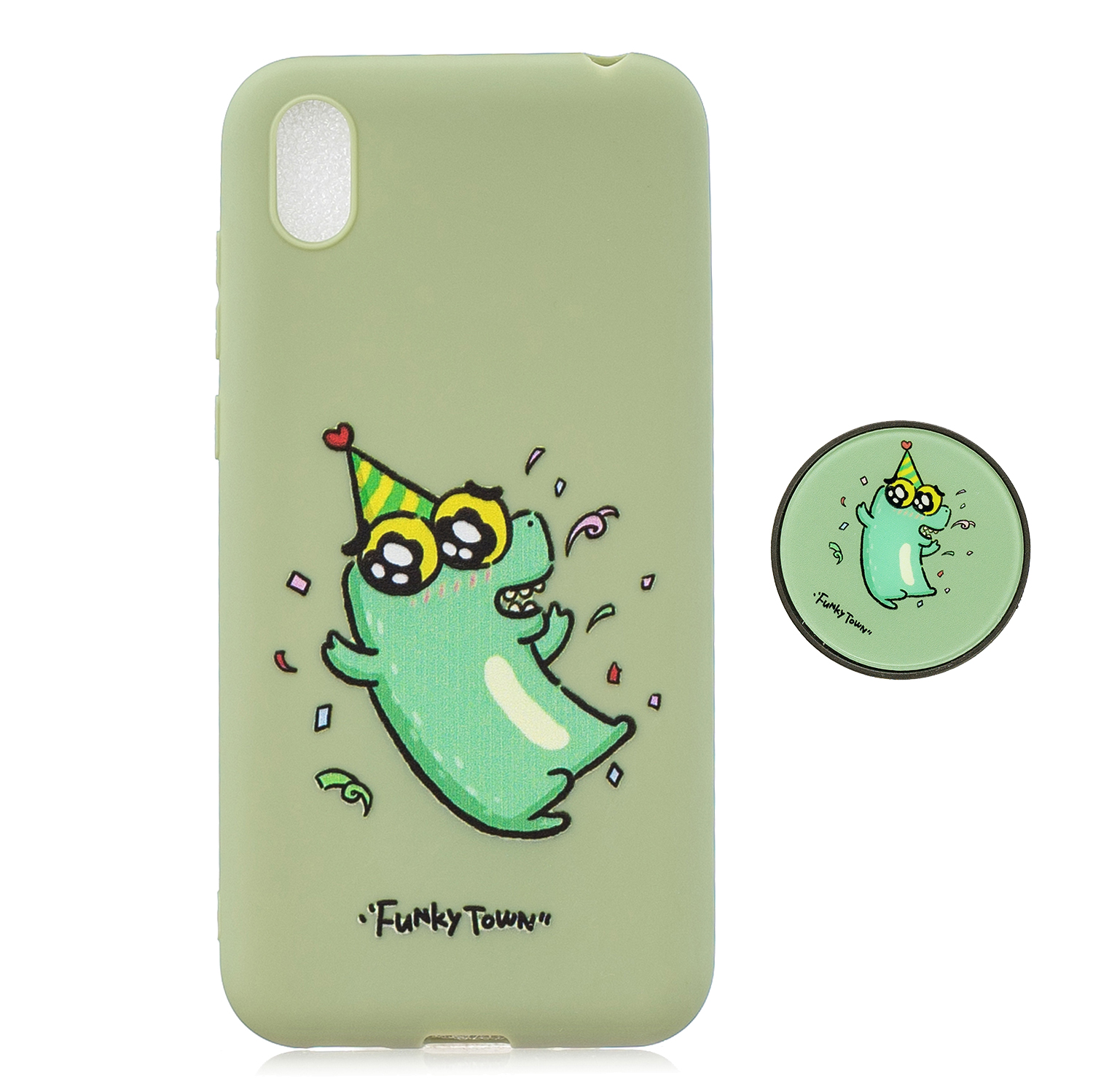 For HUAWEI Y5 2019  Lightweight Soft TPU Phone Case Pure Color Phone Cover Cute Cartoon Phone Case with Matching Pattern Adjustable Bracket 2