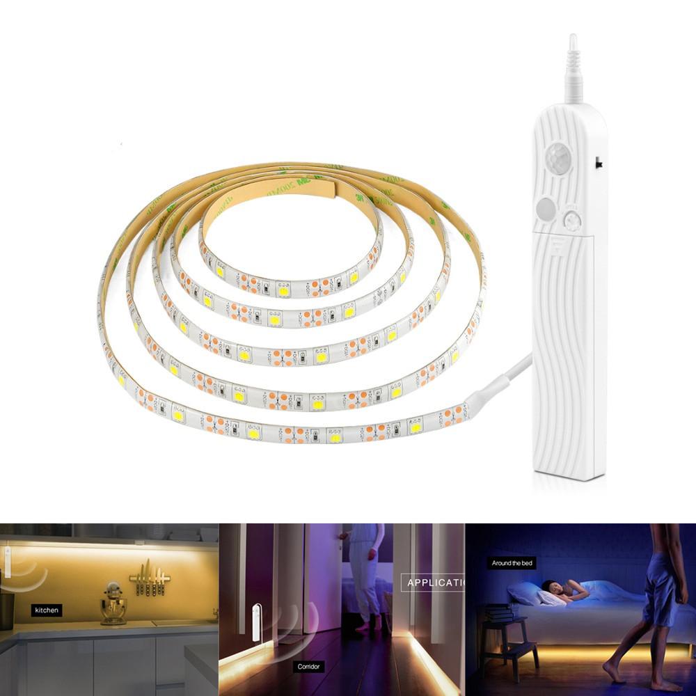 2M Motion Sensor LED String Light for Cabinet Stairs Hallway Under Bed Lighting white light