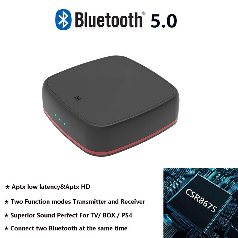 Bluetooth 5.0 Receiver Transmitter CSR 8675 APTX HD Bluetooth Adapter Low Latancy Wireless Optical Audio RCA Support AAC black