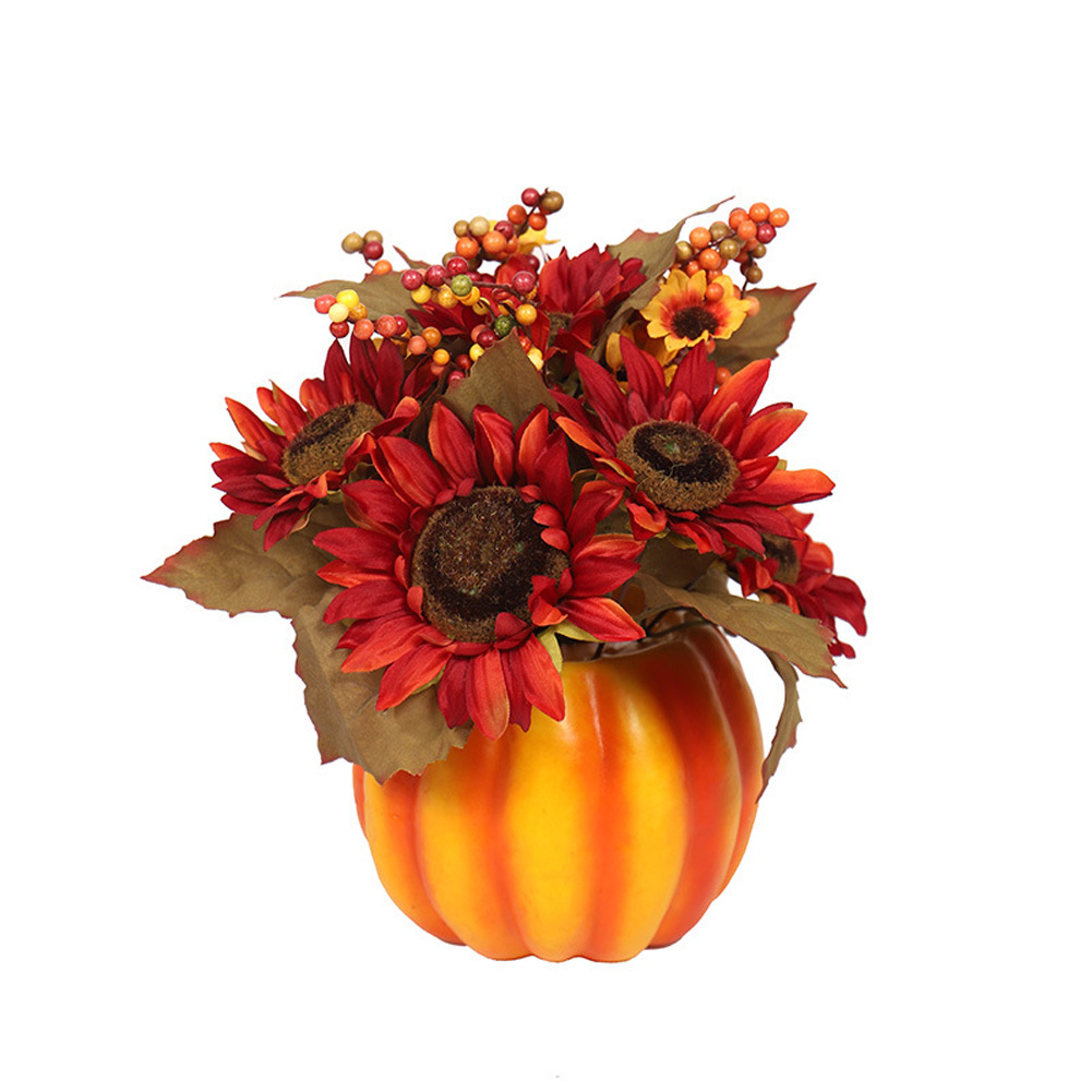 Mini Artificial Pumpkins Maple Leaves Decoration for Halloween Party Style 2