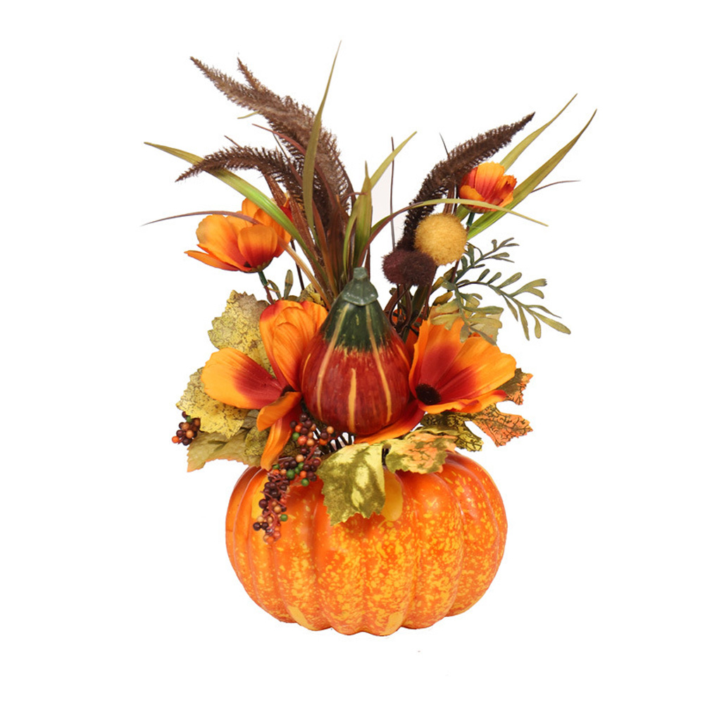 Mini Artificial Pumpkins Maple Leaves Decoration for Halloween Party Style 1