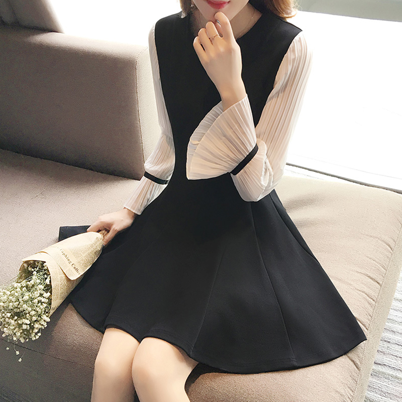 Women Spring Summer Flare Sleeve Slim Dress 830 black_M