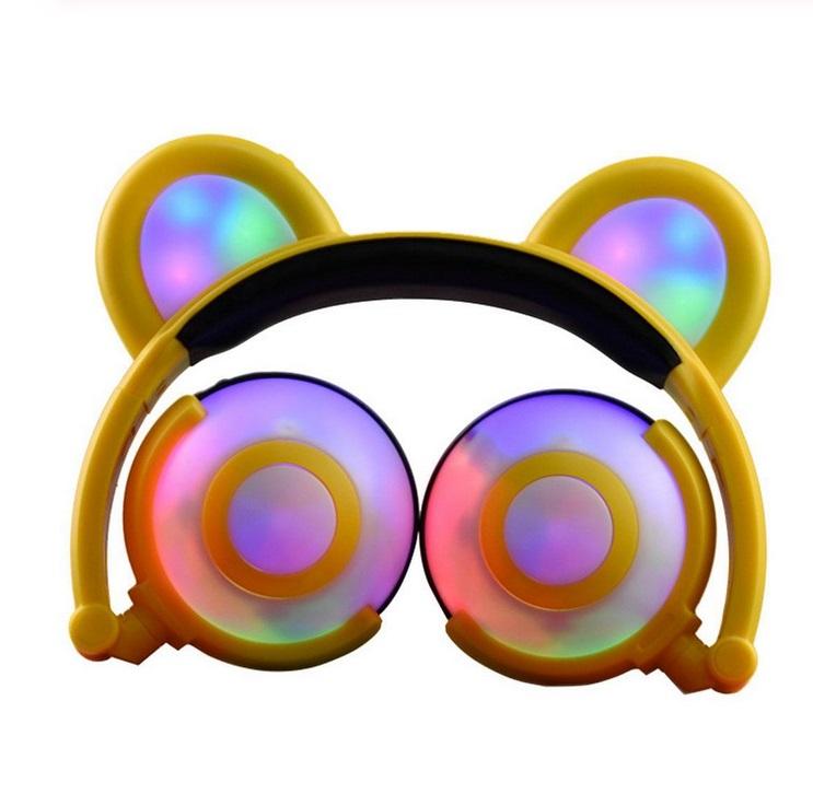 Adjustable Folding Cartoon Fancy Bear Shape Stereo Glow Music Bass Charging Ears Headset yellow