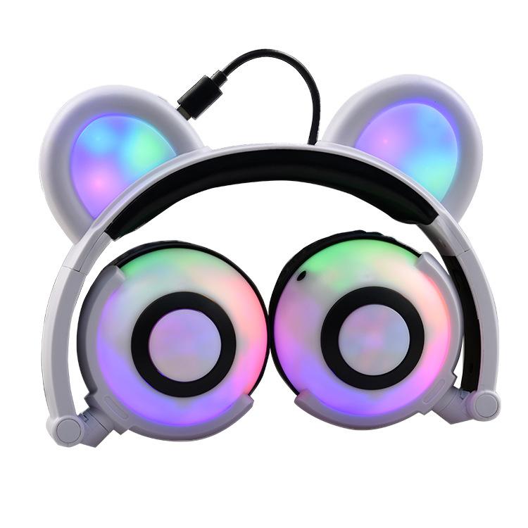 Adjustable Folding Cartoon Fancy Bear Shape Stereo Glow Music Bass Charging Ears Headset white