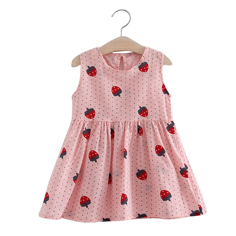 Girl Cute Strawberry Sleeveless Cotton Princess Flax Dress for Summer Pink-strawberry vest skirt_110cm