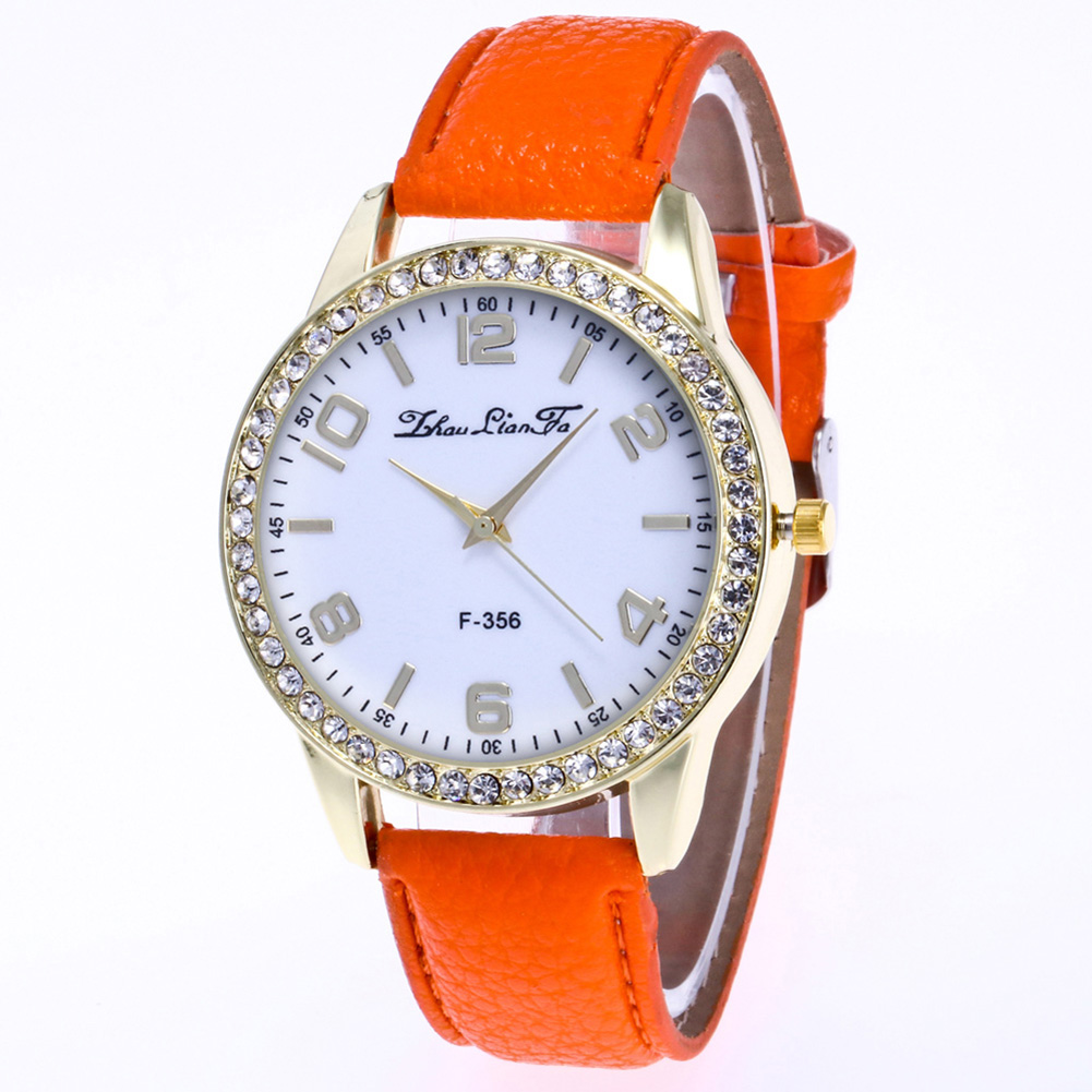 Fashionable Rhinestone Watch with Lichee Pattern Watchband Stylish Wrist Watch Ornament Gift