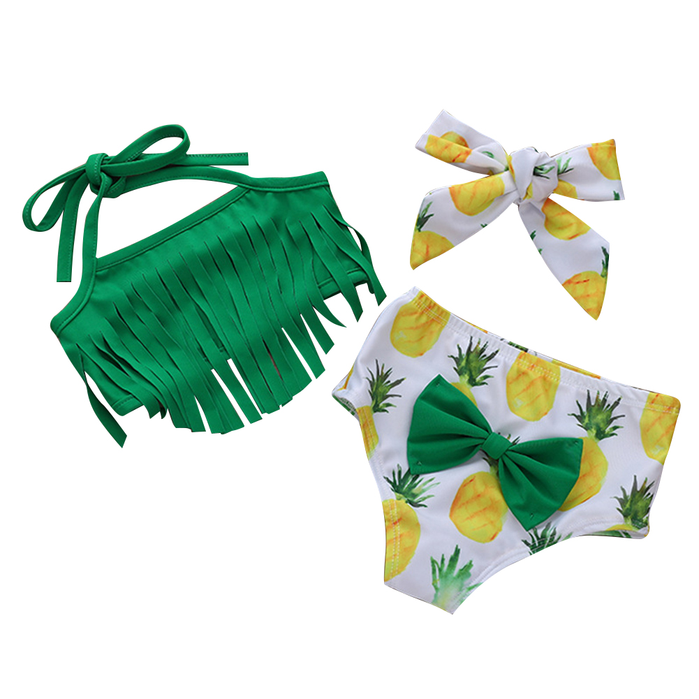Kids Pineapple Printing Swim Suit Girls Cartoon Tassels Top +Shorts+Headband Green XH1398BK_90cm