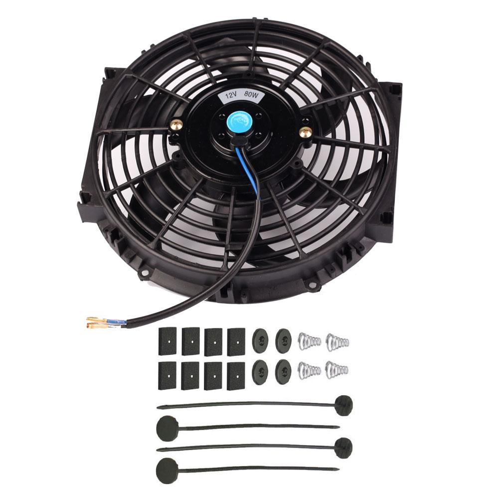 Universal Kit Black 10 inch Slim Fan Push Pull Electric Radiator Cooling Fan 12V