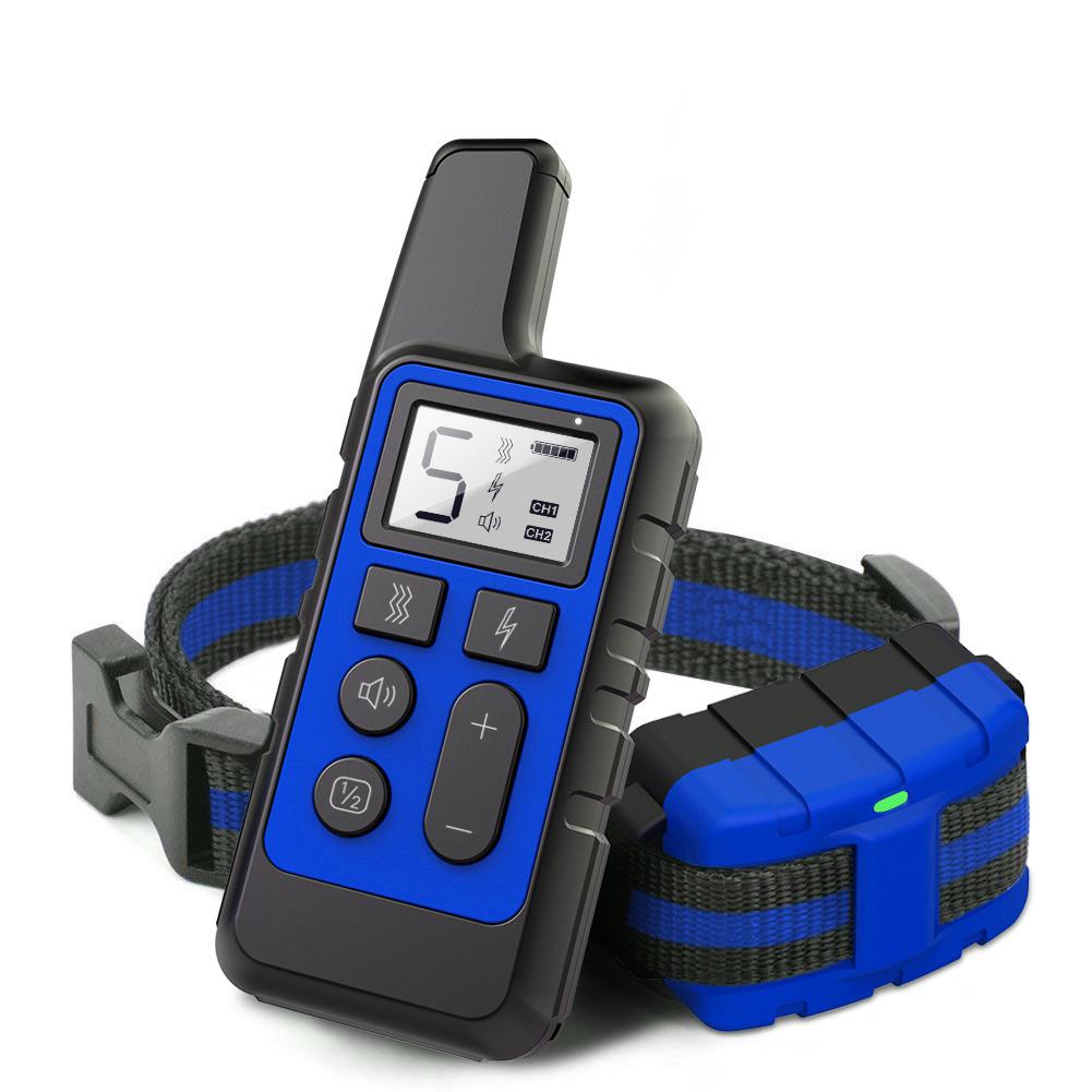 Dog Training Collar Electric Shock Vibration Sound Anti-Bark Remote Electronic Collars Waterproof Pet Supplies blue