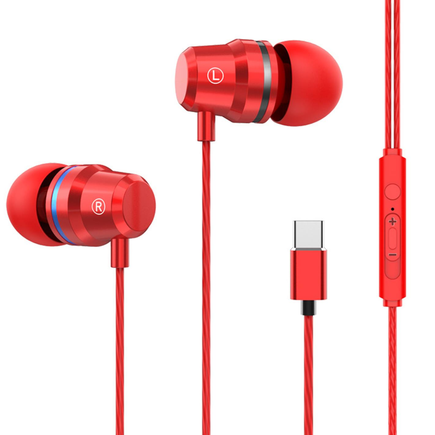 G2 Ergonomic Headset Type-c Subwoofer In-ear Wired  Control  Headset With Built-in High-definition Microphone Red