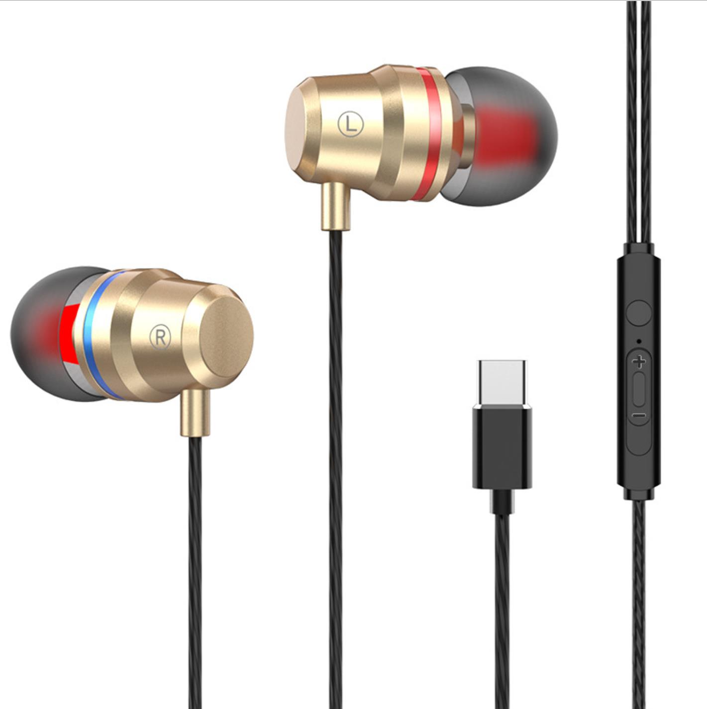 G2 Ergonomic Headset Type-c Subwoofer In-ear Wired  Control  Headset With Built-in High-definition Microphone Golden