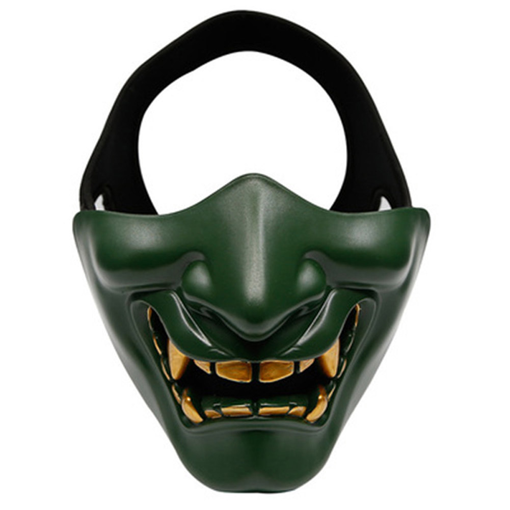 Half Face Mask Lower Face Protective Mask for Airsoft/Paintball/CS Game for Halloween Cosplay Costume Party Movie Prop green