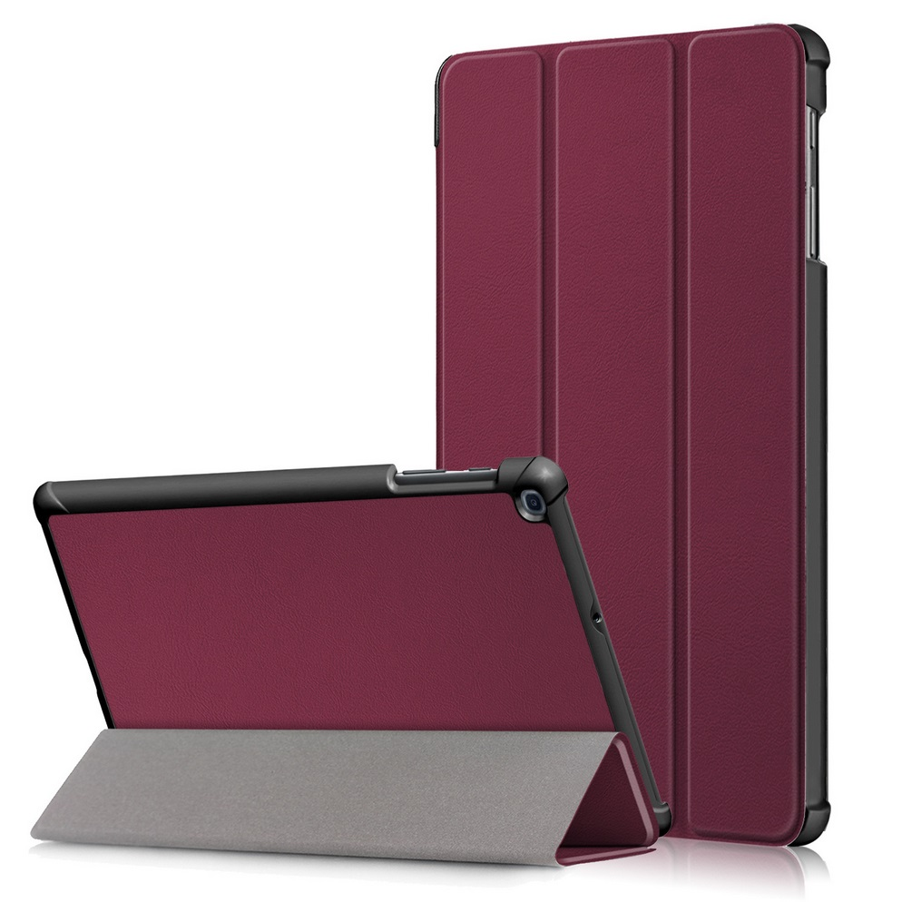 For Samsung Tab A 10.1 2019 T510 t515 Tablet PC Protective Case Flip Type Red wine