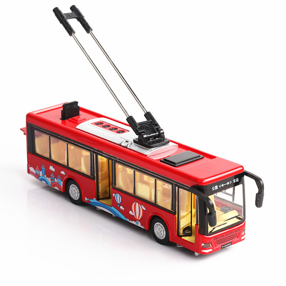 1:36 Scale Car Modeling Metal Alloy Trolleybus Voice Announcement Light Sound Toy for Kids Collect(Box Packing) red