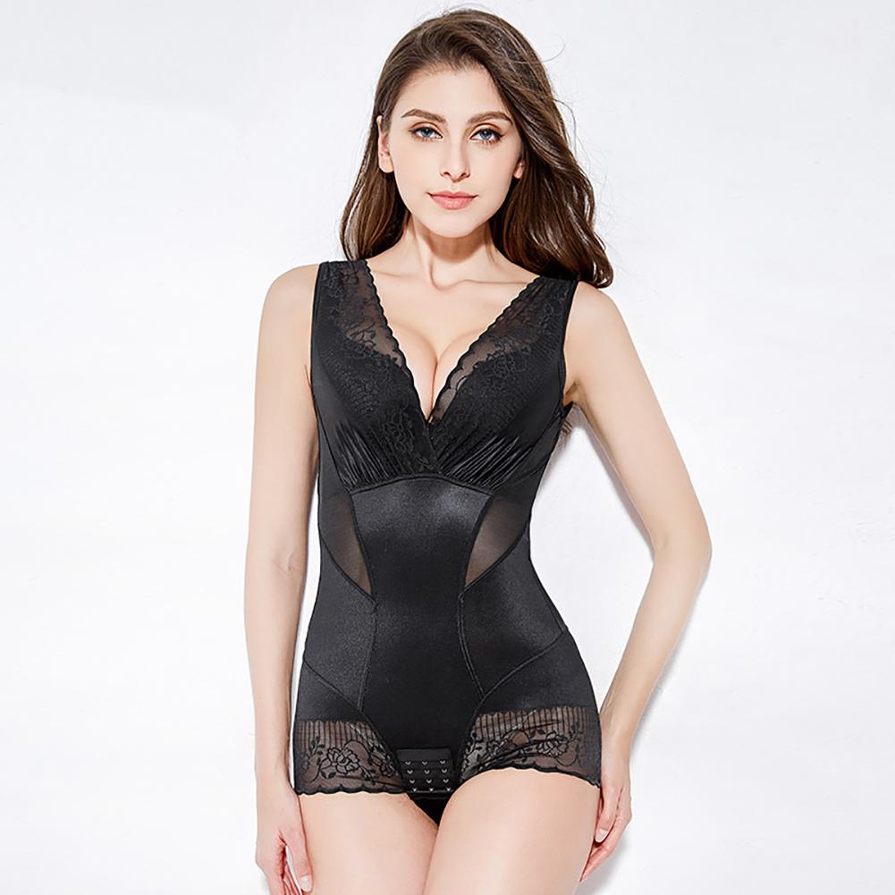 Women Underwear Thin Lace Body-shaping Postpartum Abdomen Waist Corset Legs Hip Body-building Corset Black_L
