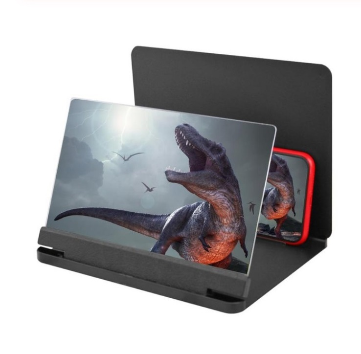 10 12 inch Mobile Phone 3D Screen Video Magnifier Bracket Folding Enlarged Desktop Smartphone Movie HD Amplifying Projector Stand black_10 inches