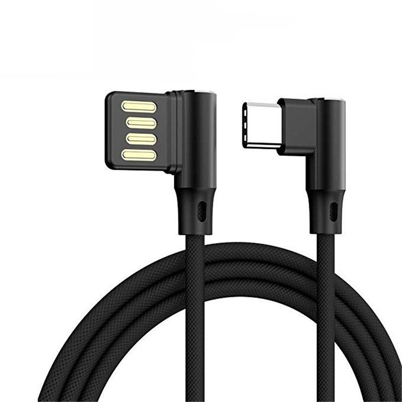 L Shaped Angle Head Type-C Charging Data Transmission Cable Adapter 0.3m for Phone black