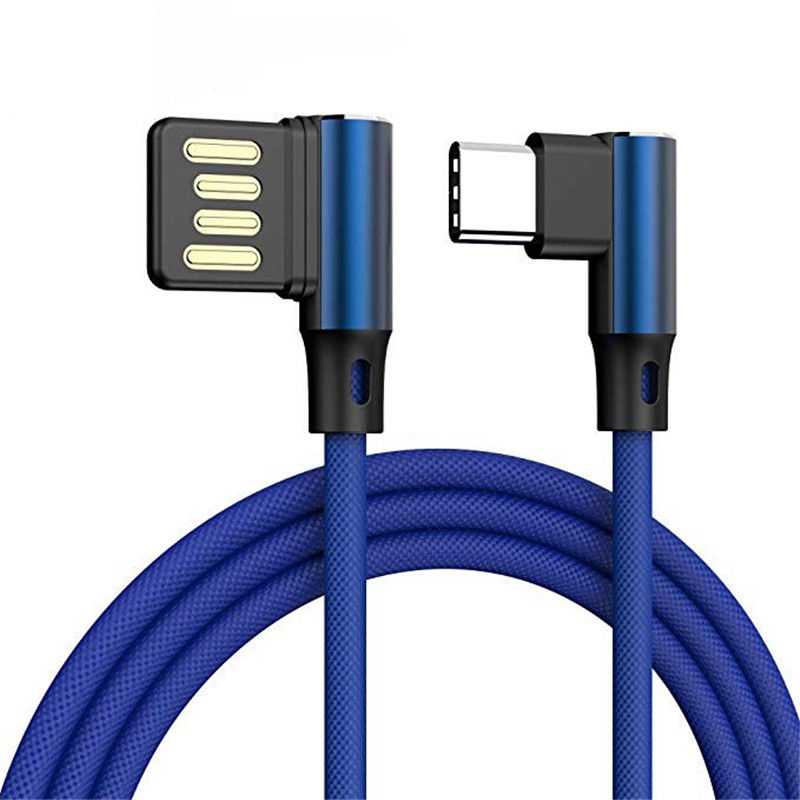 L Shaped Angle Head Type-C Charging Data Transmission Cable Adapter 0.3m for Phone blue