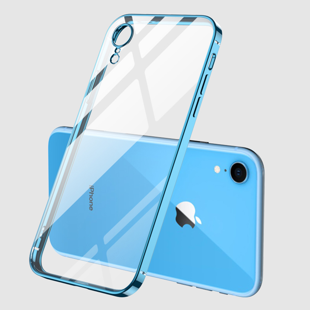 For iPhone X/XS/XR/XS Max Mobile Phone shell Square Transparent electroplating TPU Cover Cell Phone Case blue