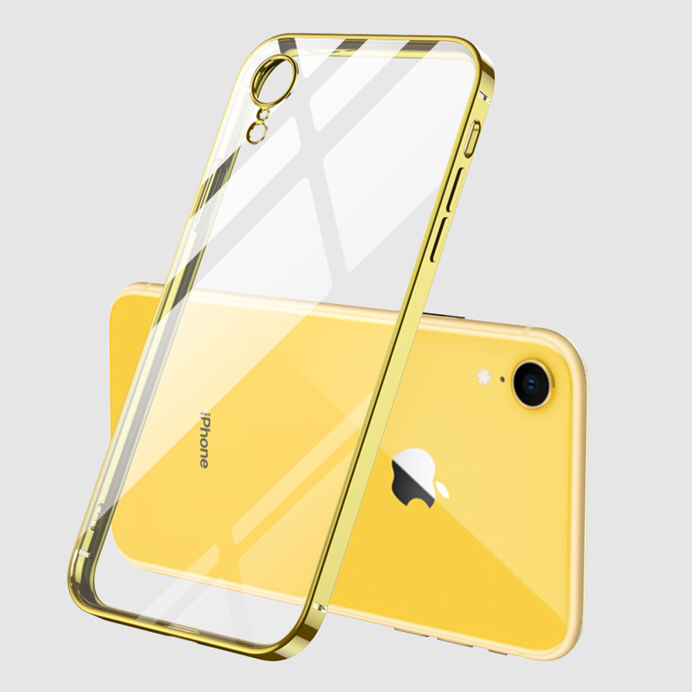 For iPhone X/XS/XR/XS Max Mobile Phone shell Square Transparent electroplating TPU Cover Cell Phone Case yellow