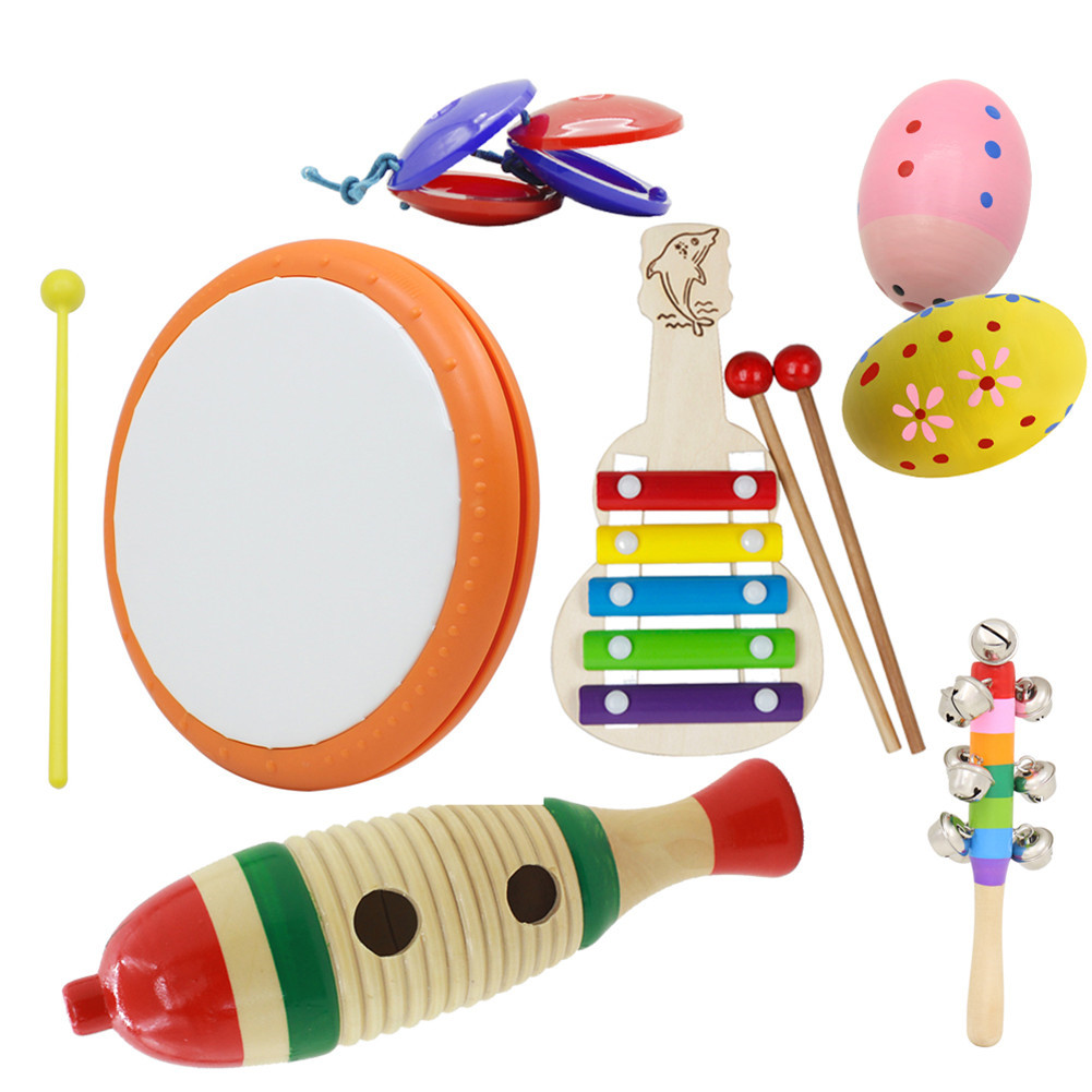 6pcs/set Orff Wooden Tambourine Educational Musical Instrument Set with Hand Drum+Fish Frog+Wooden Guitar+Tambourine+Sand Egg+Castanet  6pcs/set