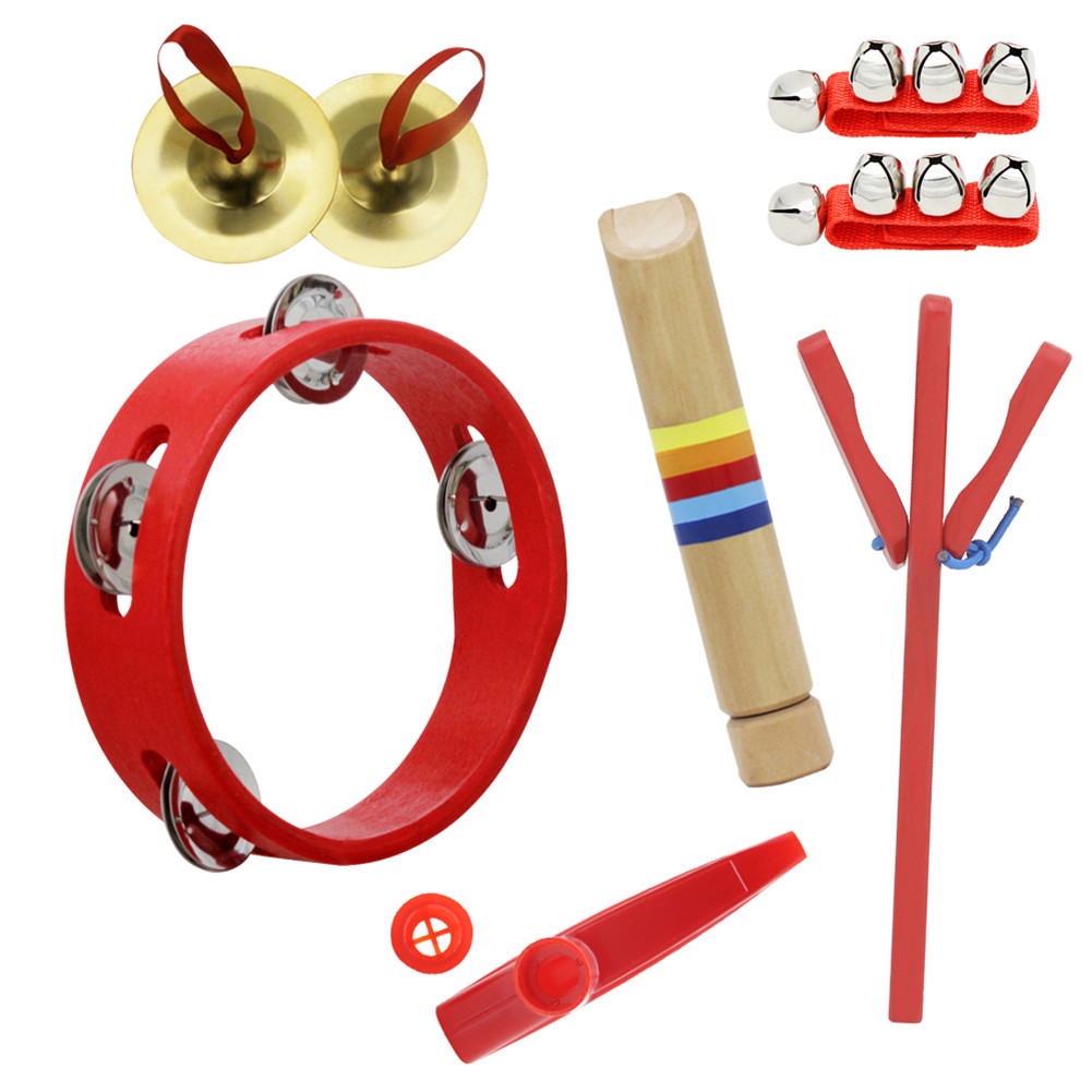 6pcs/set Orff Wooden Tambourine Educational Musical Instrument Set with Tambourine+Castanet+Flute+Cymbal+Kazoo+Wrist Bell 6pcs/set