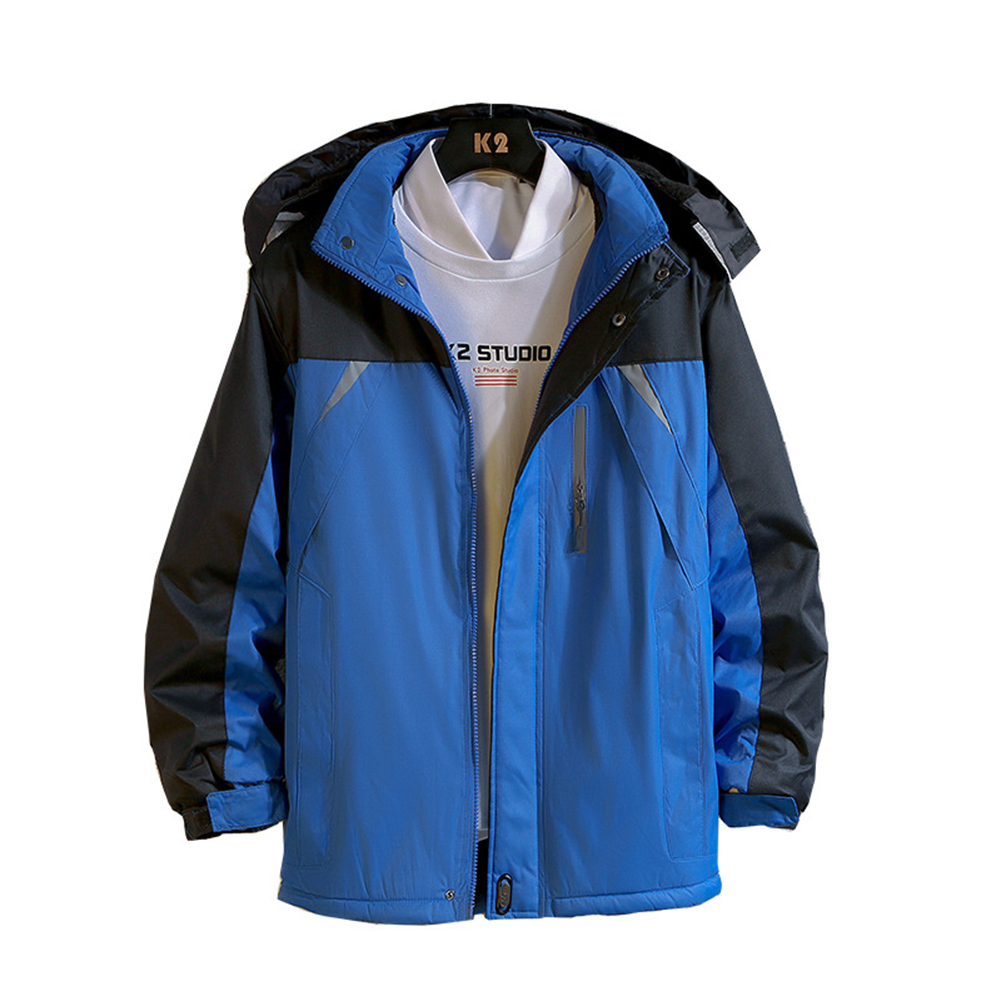 Men's and Women's Jackets Winter Windproof and Rainproof Thickening Outdoor Mountaineering Clothes Reflective blue_M