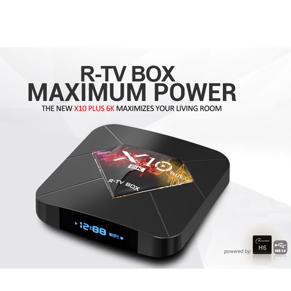 Lot LCD X10 PLUS Smart TV Box Android9.0 WiFi 6K Quad Core Player 4+64GB British standard
