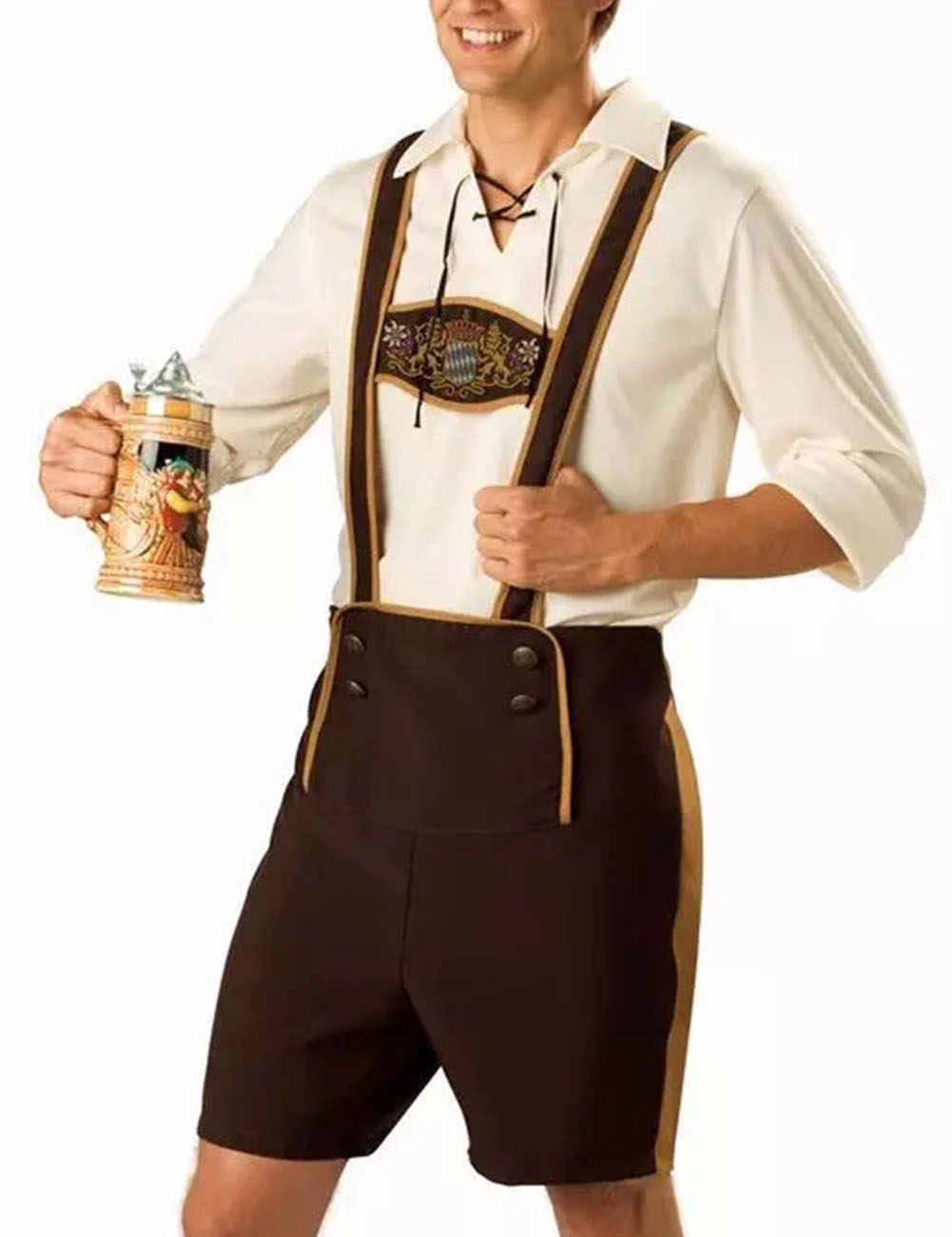 Men Oktoberfest Clothing Set Tops + Suspenders Pants male_L
