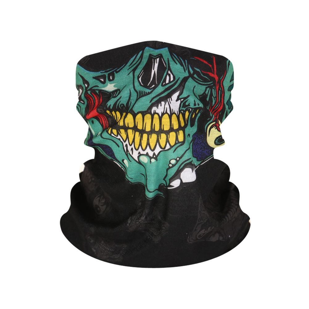 Multifunction Seamless Skull Pattern Magic Riding Mask Warm Scarf  Halloween Props Green flower mouth_25*50CM or so