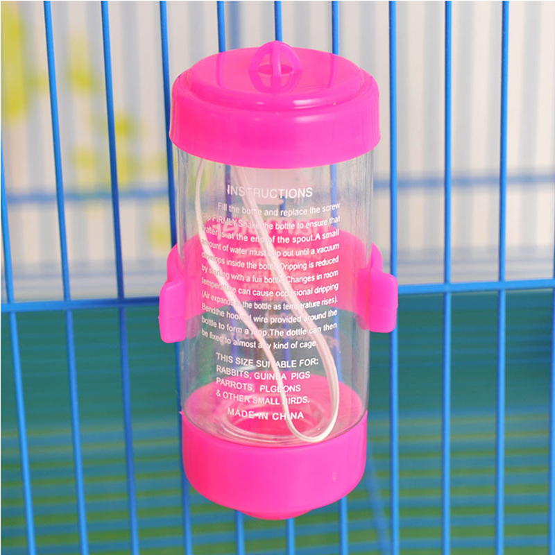 Hanging Water Bottle, Dispenser Feeder, No Drip, Leak Proof Water Kettle, 2 Size for Choice, Fit for Hamster, Guinea Pig, Rabbit, Dog Pink_80ml