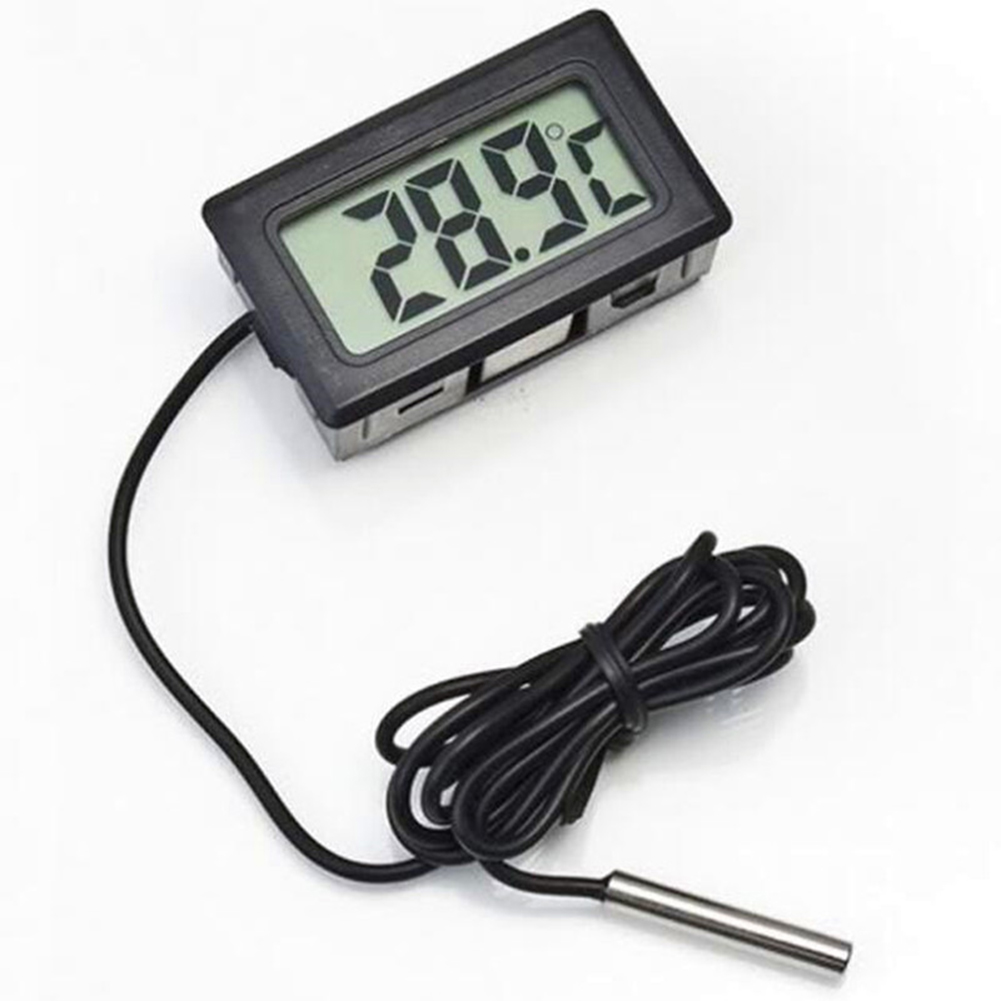 Mini LCD Digital Thermometer Fridge Freezer Thermometer for Fish Tank Aquarium black