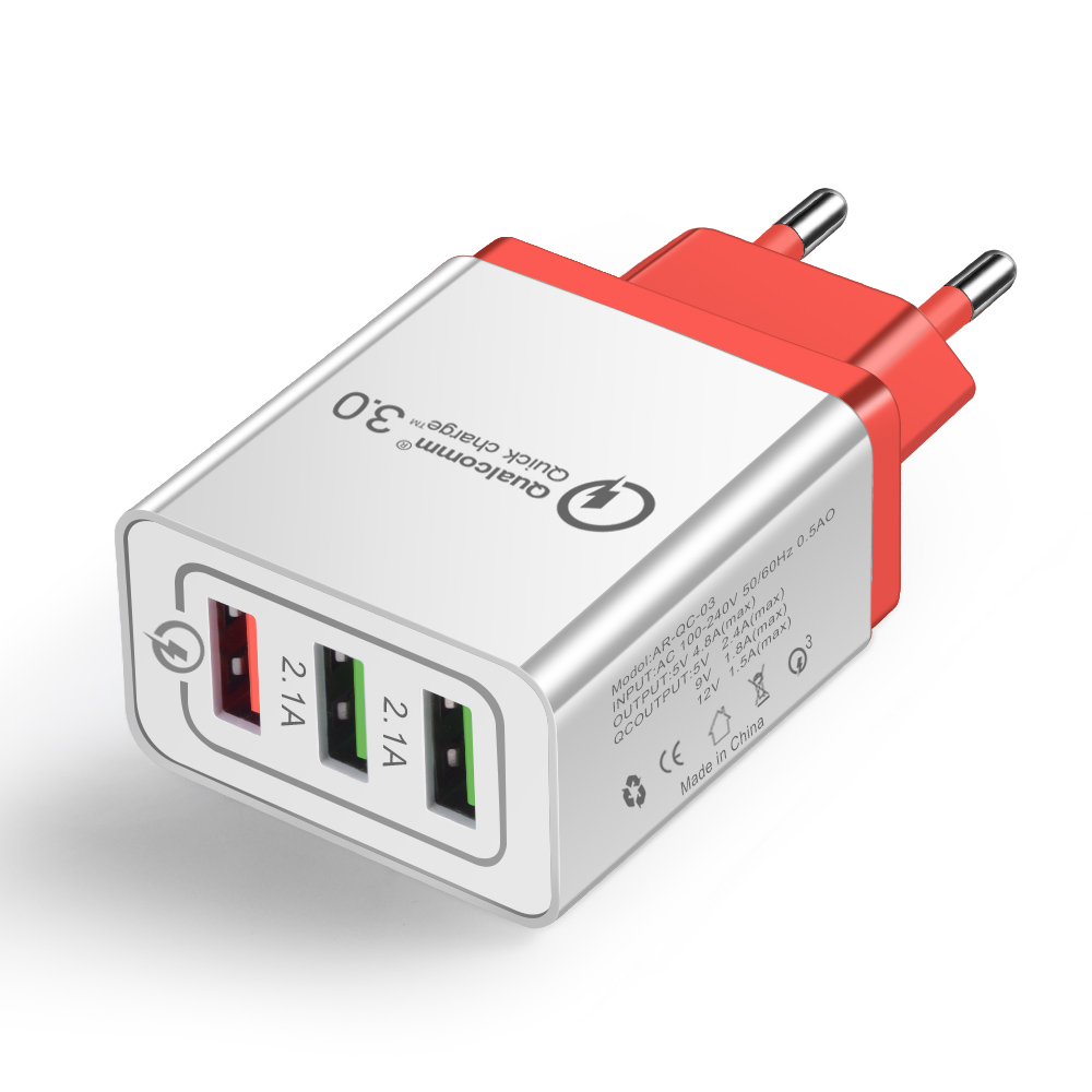 18W EU Plug USB Quick Charger red