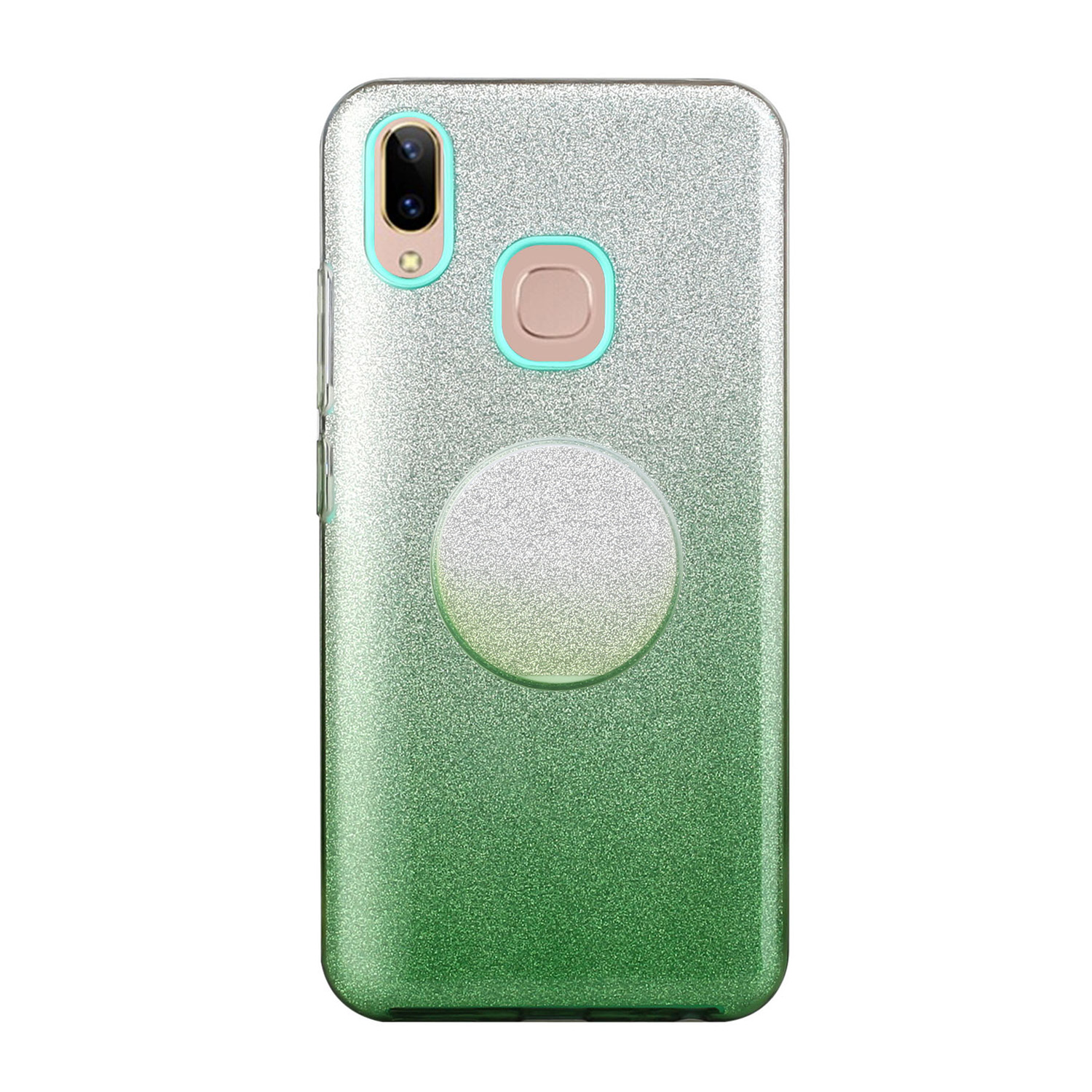 For VIVO Y91/Y93/Y95 with hole/V17/S1 Pro/Y95 Phone Case Gradient Color Glitter Powder Phone Cover with Airbag Bracket green