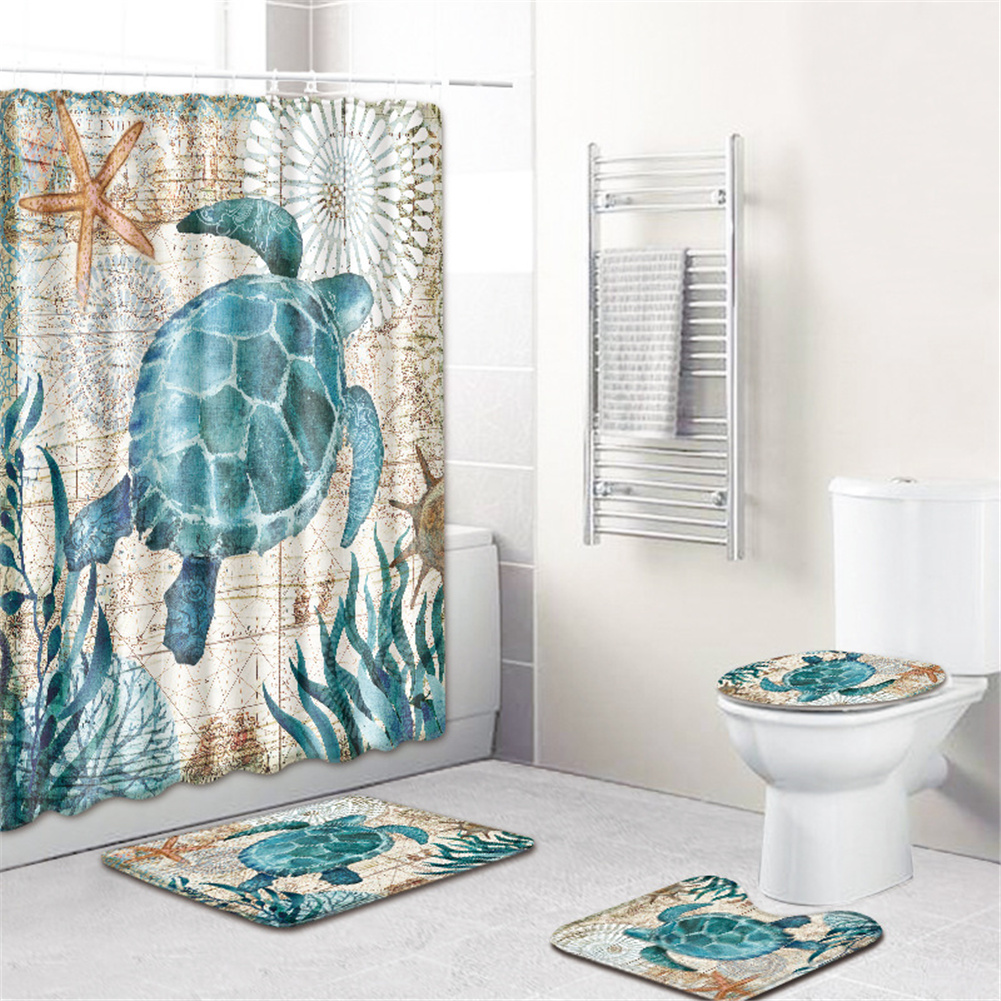 4  Pcs Non-slip Rug Toilet  Lid  Cover Bath  Mat Waterproof Bath  Curtain Sea turtle_45*75cm