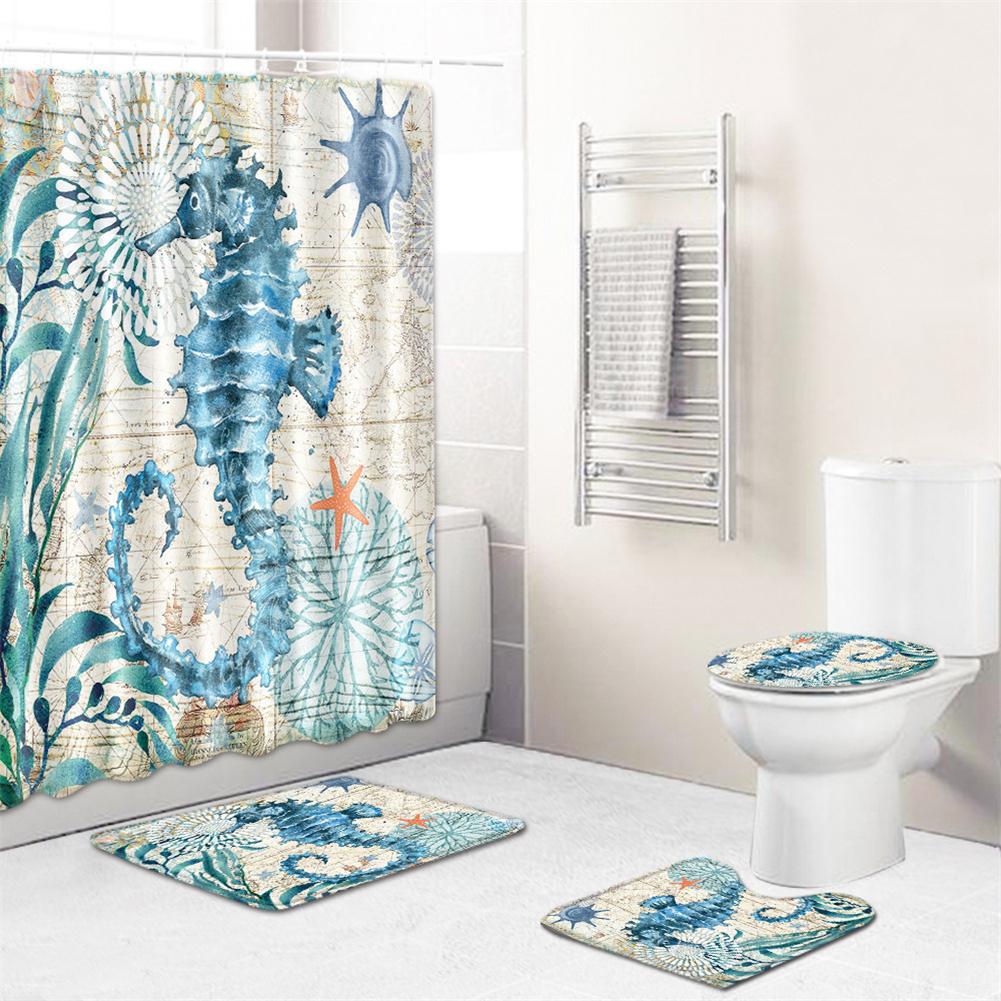 4  Pcs Non-slip Rug Toilet  Lid  Cover Bath  Mat Waterproof Bath  Curtain pj200428-a001_50*80cm