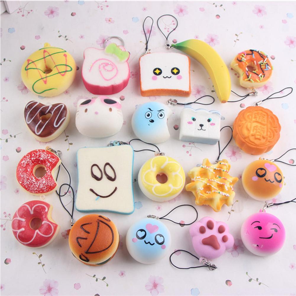 [EU Direct] 10pcs Small Soft Squishy Foods Cute Doughnuts Cakes Breads Handbag Pendant Buns Phone Straps Decoration - Random Delivery