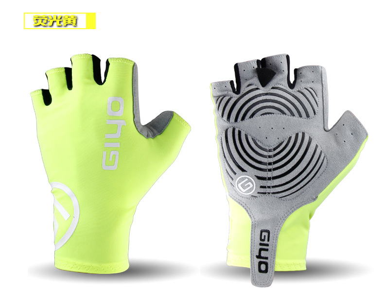 Giyo Cycle Half -finger Gloves Bicycle Race Gloves Of Bicycle Mtb Road Glove Fluorescent yellow_L