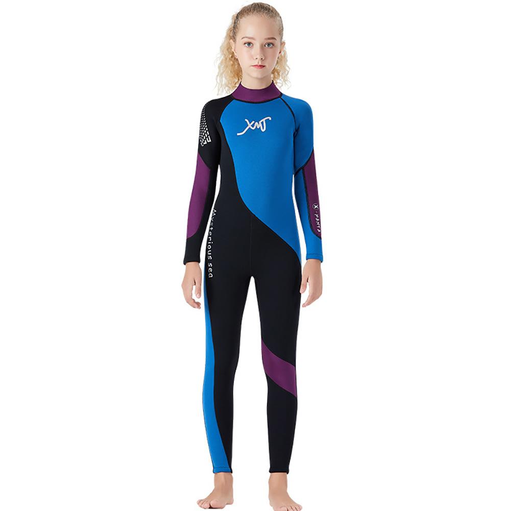 2.5MM Children Diving Suit Junior Swimwear Siamese Thicken Diving Surfing Winter Jellyfish Suit black_XL